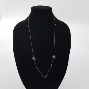~ Polka Dot Black White Beaded Silver Tone Chain B